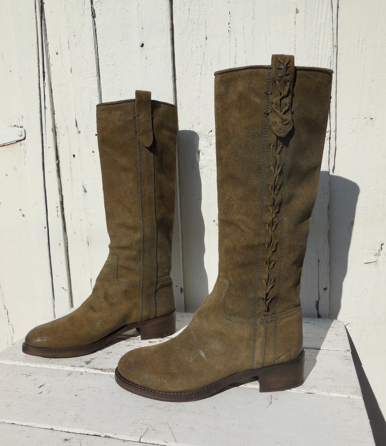 SUEDE LEATHER BOOTSKnee High Campus BootsGreen Suede BootsRiding BootsBoho BohemianTall Suede BootsSuede Hippie BootsWomens 10Eu 40