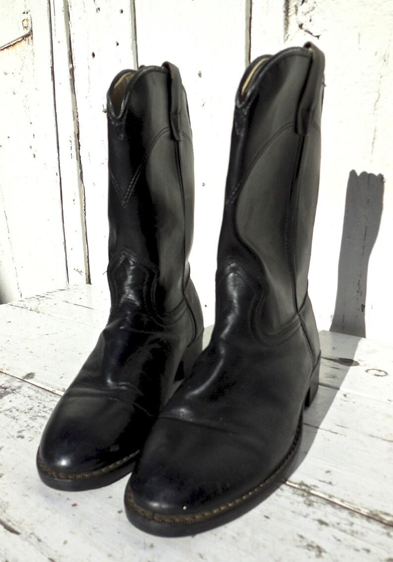 BLACK Leather ROPERSLAREDOCowgirl BootsCowboy BootsYouth RopersBlack BootsRiding BootsRodeo BootsWestern BootsWomens 5.5Youth 3.5