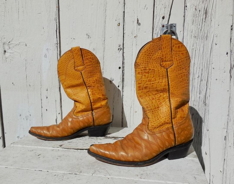 ea371dc9844 VEGAN COWBOY Boots Faux Leather Boots Moc Croc Boots Western