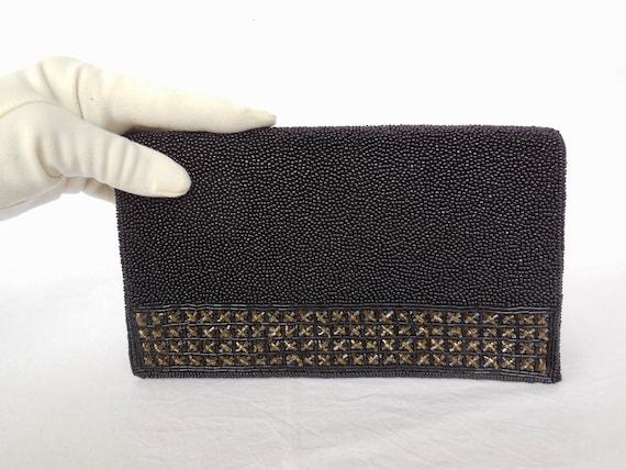 60s BEADED Clutch WALBARG Black Beaded Handbag Bla
