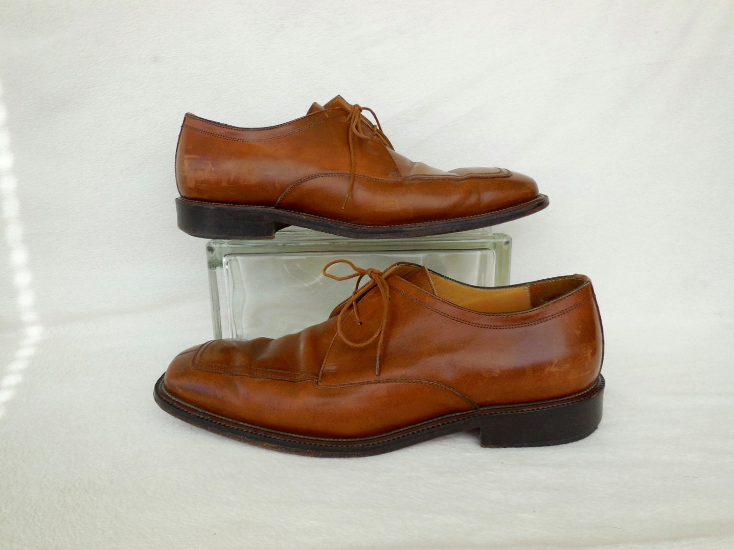 7d65a15466a9d Cognac OXFORDS/MERCANTI FIORENTINI/Mens Leather Oxfords/Oxford Dress  Shoe/Mad Men/Italian Shoes/Made In Italy/Mens Vintage Shoes/Size 10.5 M