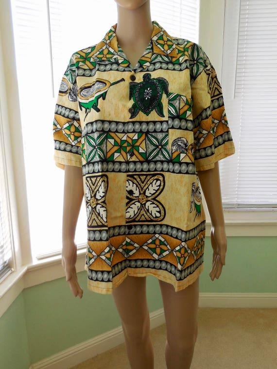 Vintage Barkcloth ShirtMAORI ShirtMens Tropical ShirtMaori Hawaiian ShirtNew Zealand Surf ShirtRockabilly70s Vintage Aloha ShirtLarge