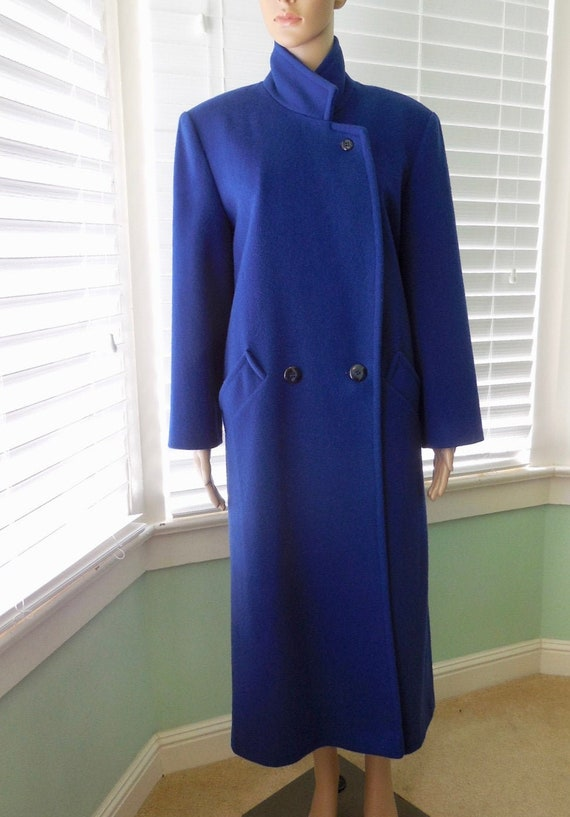 BLUE WOOL Coat Womens Long Wool Coat 70s Wool Maxi