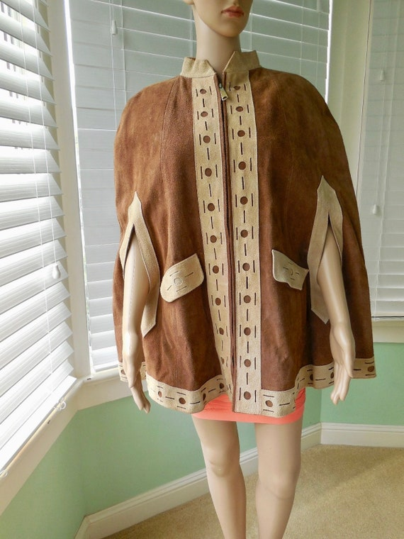 70s Suede LEATHER PONCHO Womens Suede Cape Hippie