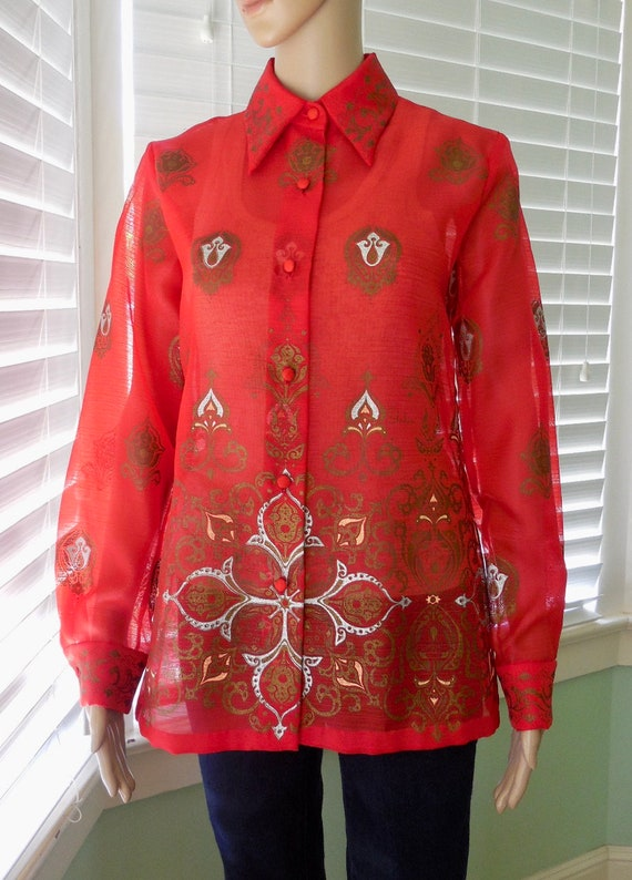 70s Red Sheer BLOUSE MISS SHAHEEN Sheer Floral Blo