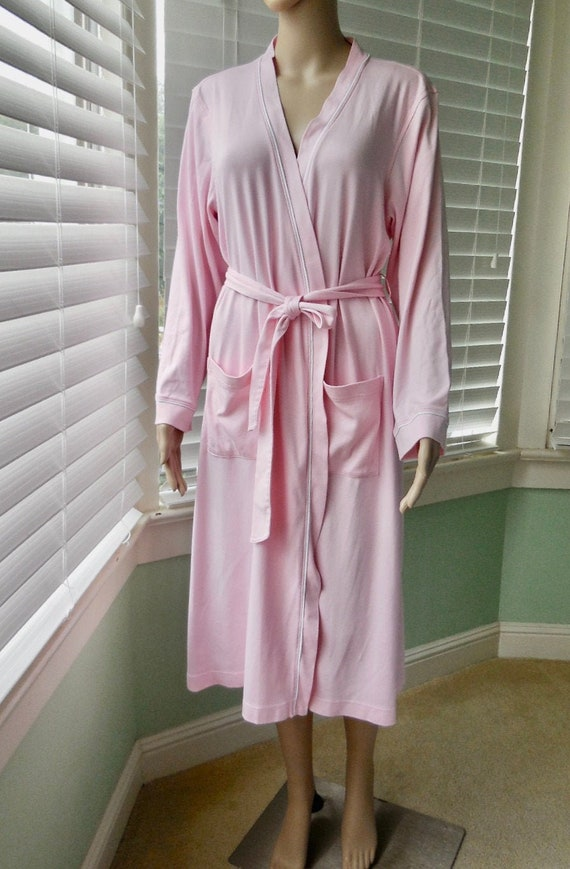 Long PINK Robe LL BEAN Pink Cotton Jersey Robe Pin