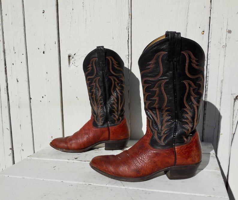 fe18cd9799f Vintage COWBOY Boots/TONY LAMA/Mens Cowboy Boots/Two Tone Cowboy Boots/Mens  Western Boots/Tall Boots/Stovepipe/Rockabilly Boots/Mens 9.5 D