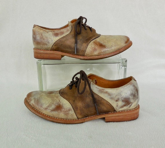 Mens SADDLE Shoes BED/STU Two Tone Oxfords Leather
