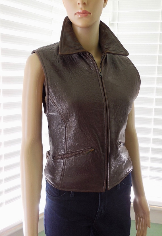 80s Brown LEATHER Vest SCULLY Lambskin Leather Ves
