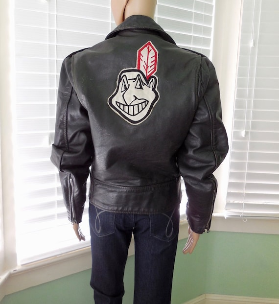 70s MOTORCYCLE Jacket Women Leather Biker Jacket I