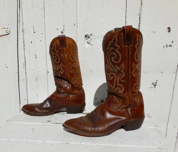 70s COWBOY BOOTS Mens JUSTIN Boots Vintage Cowboy