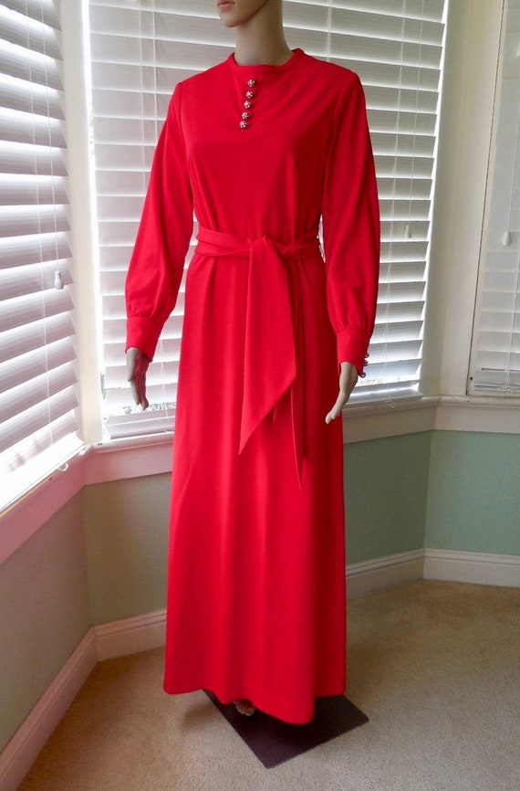 70s Red EVENING Gown HENRY LEE Red Maxi Dress Long