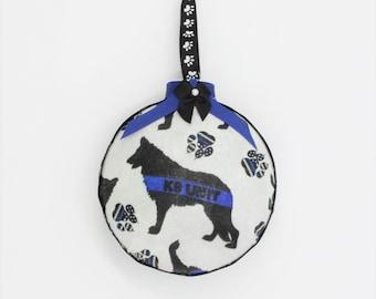 K9 Ornament, Police K9 Ornament, Thin Blue Line K9 Ornament, Law Enforcement gifts, Thin Blue Line Ornament, Thin Blue Line Gifts, K9 Gifts