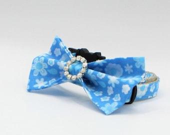 Blue Floral Cat/Kitten Collar, Blue Bowtie Cat Collar, Breakaway collars, Kitten collar, Cat collar, Couture Cat Collar, Fancy Cat collars,