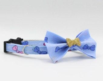 Blue Cat/Kitten Collar, Blue Bowtie Cat Collar, Breakaway collars, Kitten collar, Cat collar, Couture Cat Collar, Fancy Cat collars,
