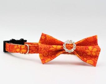 Orange Cat/Kitten Collar, Orange Bowtie Cat Collar, Breakaway collars, Kitten collar, Cat collar, Couture Cat Collar, Fancy Cat collars,