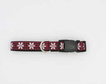 Holiday dog collar/leash sets,Red Plaid,Collar,Christmas collar, dog gifts,Christmas pet gift,Dog Collar, Holiday,Snowflake dog collar