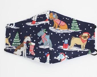 Christmas Face Masks, Christmas Dogs Face Mask, Holiday dogs Face Mask, Santa Dog Mask. Fabric, Holly Berry Mask, Washable Face Mask,