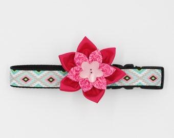 Pink Aztec dog Collar, Collar Flower, geometric shape dog Collar, Tribal dog collar,holiday dog collar , blue collars, Summer dog collar,