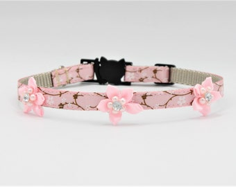 Pink Cherry Blossom Couture Cat/Kitten Collar, Breakaway collars, Kitten collar, Pink Cat collar, Couture Cat Collar, Fancy Cat collars,