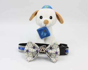 Hanukkah Collar Bows, collar Bow, Hanukkah dog bows, Dog collar bows, Hanukkah gifts, holiday dog bows, dog bow