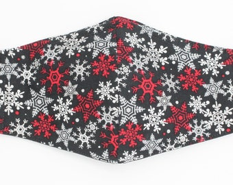 Snowflake Face Masks, Silver and Red Snowflake Face Mask, Holiday Face Mask, Snowflake Mask, Holiday gifts, Face Masks, Washable Face Mask,