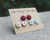 Fabric Button Earring Trio - Burgundy, Navy Speckle, Pink and Sage Colourful Studs Multi Pack Earrings Covered Buttons Fall