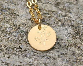 Wild Flower Necklace // Botanical Floral Necklace // Simple Disc Necklace // Tiny Gold Plant Necklace // Plant Lady Necklace // Gift for Her