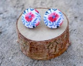 Flower Fabric Button Earrings Coral Blue White Tiny Floral Earrings Vintage Earrings Covered Buttons Everyday Studs