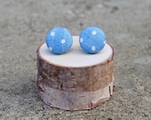 Polka Dot Fabric Button Earrings Chambray Denim Retro Earrings Trendy Earrings Covered Buttons Fabric Studs Blue
