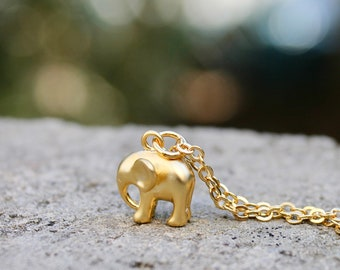 Gold Elephant Necklace // Animal Charm // Little 3D Elephant // Layering Necklace // Lucky Necklace // Girlfriend, Friend Gift // Travel