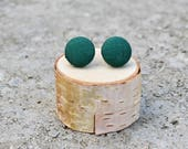 Fabric Button Earrings Evergreen Fall Earrings Forest Green Fabric Studs Covered Buttons Geometric Earrings Vintage