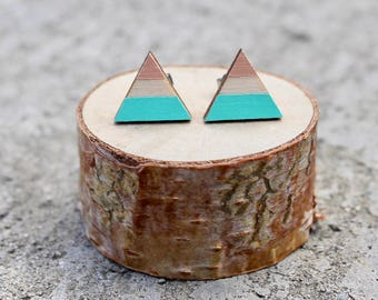 Triangle Wood Earrings // Mint Peach Geometric // Striped Earrings // Color Block Earrings // Hand Painted Studs // Blue Pink Studs