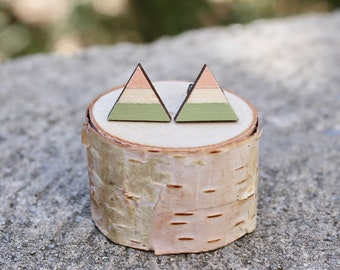 Triangle Wood Earrings // Peach Olive Geometric Earrings // Striped Earrings // Color Block Earrings // Hand Painted Studs // Minimal Studs