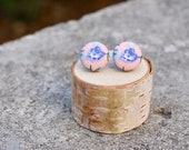 Fabric Button Earrings Floral Peach Blue Vintage Studs Retro Earrings Covered Buttons Studs Tiny Flower Colorful Earrings