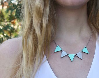 Pennant Wood Necklace // Mint and Silver Bunting Necklace // Reversible // Wood Geometric Necklace // Statement Bib Necklace