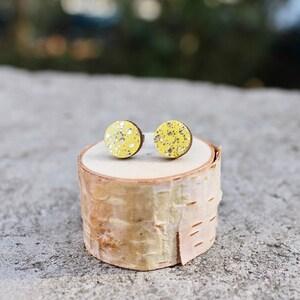 Geometric Wood Earrings  Multi Earrings  Mint Wood Earrings  Sparkle Earrings  Circle Earrings  Mint Mustard White Sparkle Studs