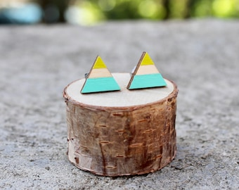 Wood Geometric Earrings // Triangle Earrings // Lime and Aqua Earrings // Color Block Earrings / Hand-Painted Studs / Bright Summer Earrings