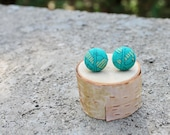 Fabric Button Earrings Emerald and Gold Teal Earrings Fabric Studs Covered Buttons Abstract Geometric Earrings