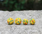 Fabric Button Earrings Floral Mustard Vintage Earrings Fabric Studs Covered Buttons Red Blue Flower Earrings Retro Studs