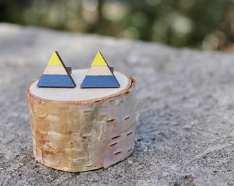 Triangle Wood Earrings // Royal Blue Yellow Geometric Earrings // Bright Striped Earrings // Color Block Earrings // Hand Painted Studs