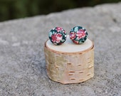 Fabric Button Earrings Red Rose Black Vintage Studs Retro Earrings Covered Buttons Studs Tiny Flower Colorful Earrings