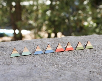 Wood Triangle Earrings // Bridesmaids Geometric Earrings // Pastel Striped Earrings // Color Block Earrings // Hand Painted Studs // Minimal