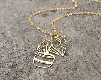 Plant Lady Necklace // Gold Alocasia Plant Necklace Large // Plant Mom Gift // Crazy Plant Lady Gift // Houseplant Necklace // Leaf Necklace
