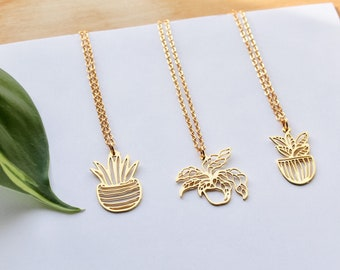 Plant Lady Necklace // Tropical Plant Necklaces // Gold Snake Plant, Rubber Tree, Calathea Plant Necklace // Plant Mom Gift // Layering