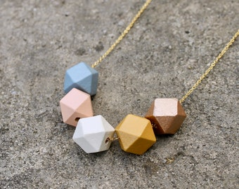 Geometric Wood Bead Necklace / Blue, Peach, Mustard Wooden Necklace / Hexagon Everyday Necklace / Chunky Spring Statement Necklace / Gift