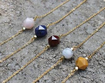 Gemstone Choker Necklaces // Crystal Stone // Lapis, Mookaite, White Howlite, Rose Quartz // Gold Minimal // Layering Necklace // Geometric