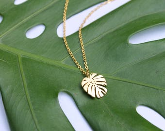 Monstera Leaf Necklace // Tropical Plant Necklace // Jungle Gold Minimal Necklace / Swiss Cheese Plant Layering Necklace