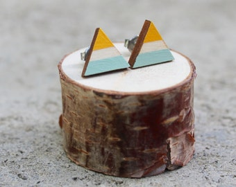 Mustard and Mint Wood Geometric Earrings // Triangle Earrings // Mint and Yellow Earrings // Color Block Earrings // Hand Painted Studs