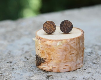 Wood Geometric Earrings // Walnut Earrings // Natural Wood Earrings // Circle Earrings // Fake Plugs